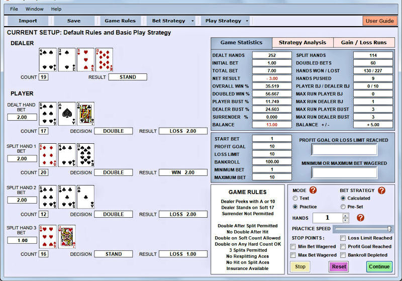 Blackjack Bet and Play Simulator Screen shot