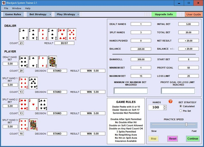 Blackjack System Trainer Screen shot